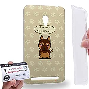 Case88 [Asus Zenfone 6] Gel TPU Carcasa/Funda & Tarjeta de garantía - Art Hand Drawing German Shepherd Cartoon Puppy Art1240