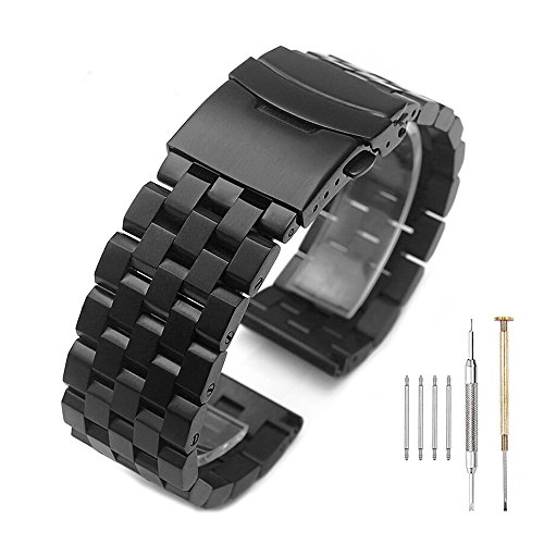 Brushed Black 316L Solid Stainless Steel Watch Band Bracelet Strap 20mm/22mm/24mm Double Locking Clasp for Mens Women (22mm, Black)