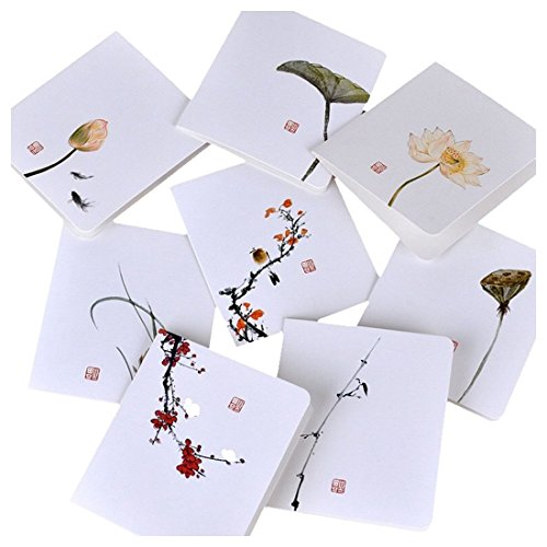 SODIAL(R) Featuring Hand-Drawn Thank You Card:8pcs Assorted Blank All-Occasion Note Cards- Flowers And Birds Series Thank You Cards