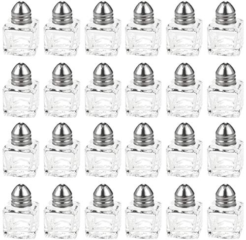 Srenta Mini Salt & Pepper Shakers Set | Classic Design Transparent Glass Kitchenware | Essential Dining Table Refillable Tool | 0.5 Oz. Set of ()