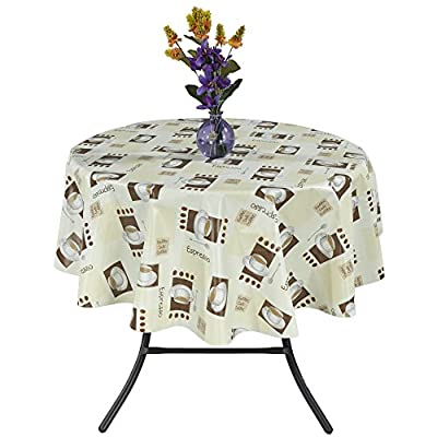 "Ottomanson Vinyl Tablecloth Espresso Cups Design Indoor & Outdoor Non-Woven Backing Tablecloth, 55"" X 70"", Multicolor - A must have tablecloth in every house to protect your tables from wear, tear, damage, stain and spills. 