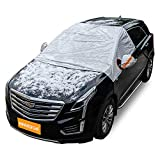 Windshield Snow Cover, Frost Protector for Cars, Compact and Mid-size SUVs, Anti-theft Tuck-in Flaps, Cotton Lined PEVA Fabric with Aluminum Foil Lamination, Weatherproof, Mirror Covers Included