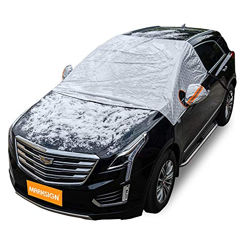 Windshield Snow Cover, Frost Protector for Cars, Compact and Mid-size SUVs, Anti-theft Tuck-in...