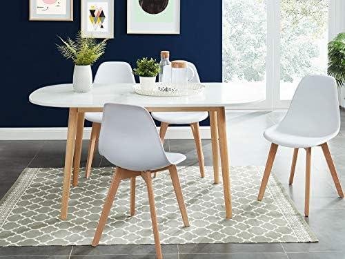 homifab table a manger scandinave blanc et bois 160x80x75 cm collection erika