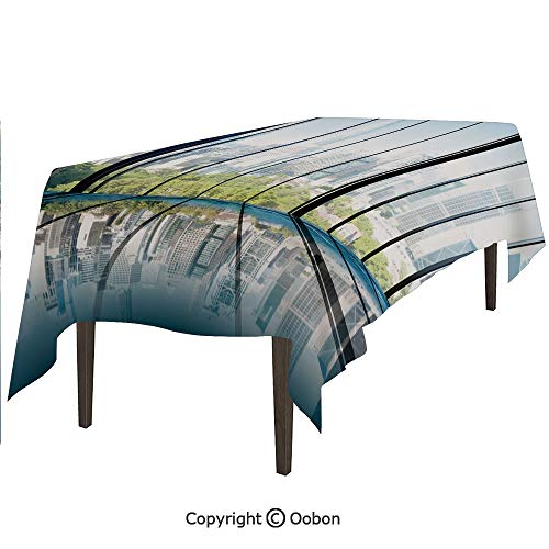 oobon Space Decorations Tablecloth, Sunny Clear Sky Office Skyscrapers in Urban Metropolitan City Scenery, Rectangular Table Cover for Dining Room Kitchen, W90xL132 inch - Dining Metropolitan Rectangular Table