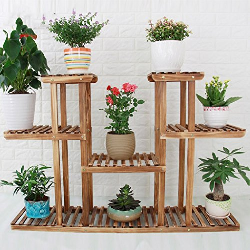 Flower Rack Solid Wood Living Room Balcony Flower Pot Frame Multi-storey Floor Indoor Plant Flower Frame 2580120cm by LITINGMEI Flower rack
