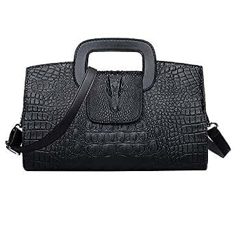 CLARA Women Crocodile Embossed Handbag Vintage Flap Tote Purse Evening Clutch Shoulder Bag