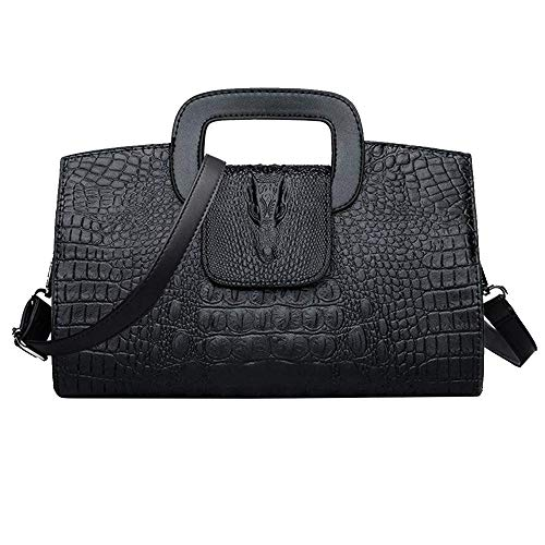 CLARA Women Crocodile Embossed Handbag Vintage Flap Tote Purse Evening Clutch Shoulder Bag - Handbag Embossed