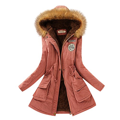 Aro Lora Women's Winter Warm Faux Fur Hooded Cotton-padded Coat Parka Long Jacket US 4 Dark Pink