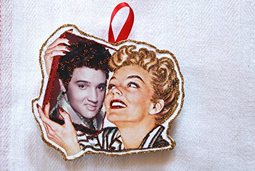 (Retro Elvis Decor ~Glittered Wooden Ornament~ Vintage Image~ 1950's~ Housewife ~Rocker)