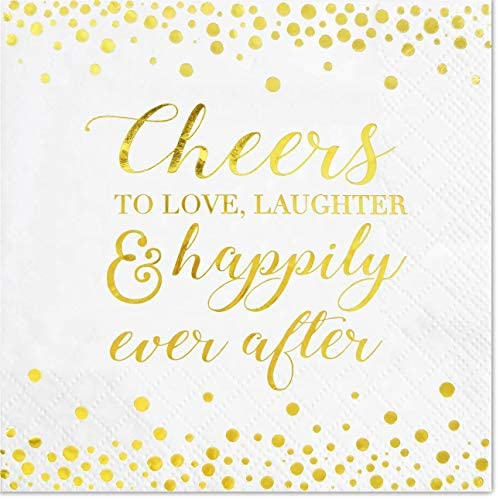Cheers to Love Cocktail Napkins for Bridal Shower Wedding Engagement Bachelorette Party | Disposable Extra Soft 3-Ply | 50 Count (Gold)
