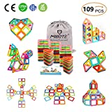 (109 PCS) Magnetic Building Blocks Educational Stacking Blocks Toddler Toys Preschool Boys Grils Toys with Car Wheel Toy Set for Kid's Educational and Creative Imagination Development by Mibote