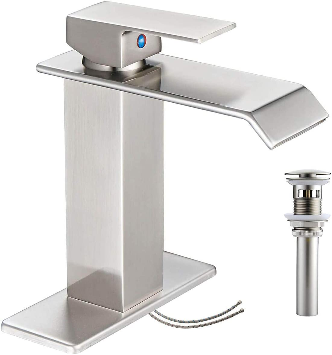 Bathroom Faucet Brushed Nickel Single Hole Waterfall Vanity Sink Satin with Pop Up Drain Assembly One Handle Basin Mixer Tap with Overflow Commercial Supply Line Lead-Free by Bathlavish