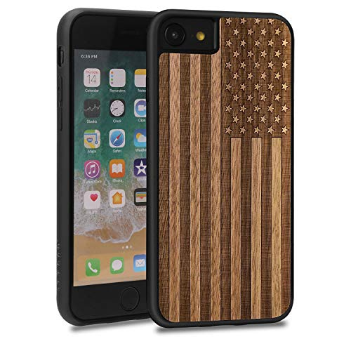(JUBECO for iPhone 8/7 Case, Slim Wood Protective Cover Case for iPhone 8/7,Handmade Natural Solid Wood Case, Bamboo Case (us Flag))