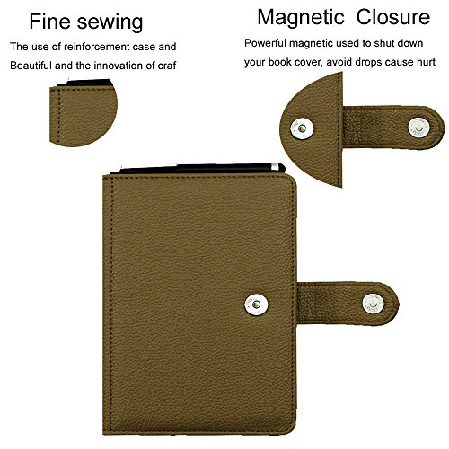For Kindle Touch (2012 model) D01200 ebook leather flip folio cover book case, pouch bag for Amazon Kindle Touch ereader with magnetic closured (Olive color)