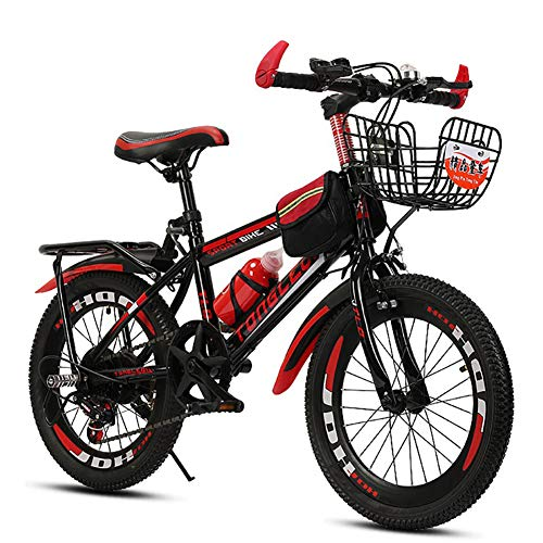 - FJW Unisex Mountain Bike 18 Inch 20 Inch 22 Inch 24 Inch High-Carbon Steel Hardtail Aluminium Alloy Lightweight Disc 6 Speed Student Child Commuter City Bike,Red,24Inch
