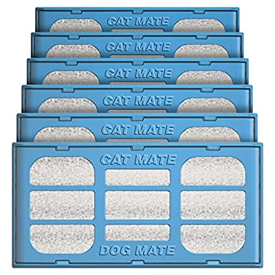 Cat Mate Genuine Replacement Filter Cartridges for use and Dog Mate Pet Fountains – Pack of 6 from Ani Mate