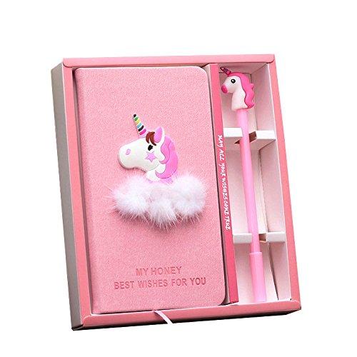 riancy unicornio cuaderno con una pluma de unicornio rosa lisa, mano libro portátil agenda para la escuela, la oficina viaje...