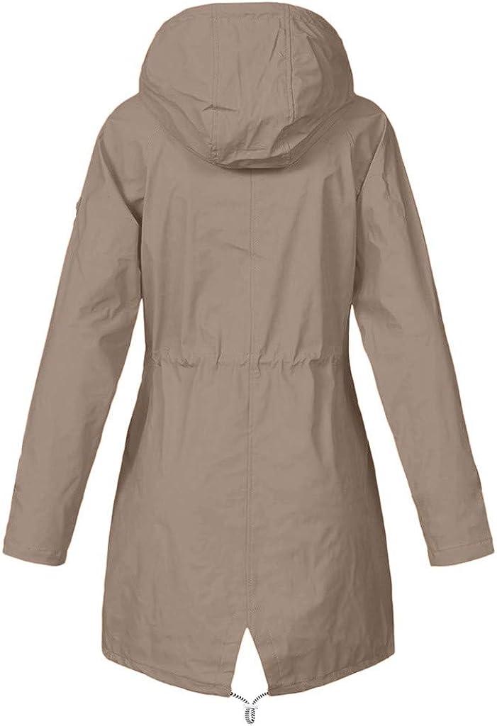 Plus Size S-5XL Waterproof Windproof Raincoats Solid Zipper Long Sleeve Pockets Fashion Casual Sport Outdoor Hoodie Coats HEATLE Jacket Women