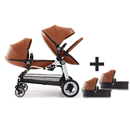Baby Twin Stroller,Babyfond Double Egg Seat + Sleeping Baskets,High View Foldable Leather Stroller for 0-8 Months Newborn (Brown)