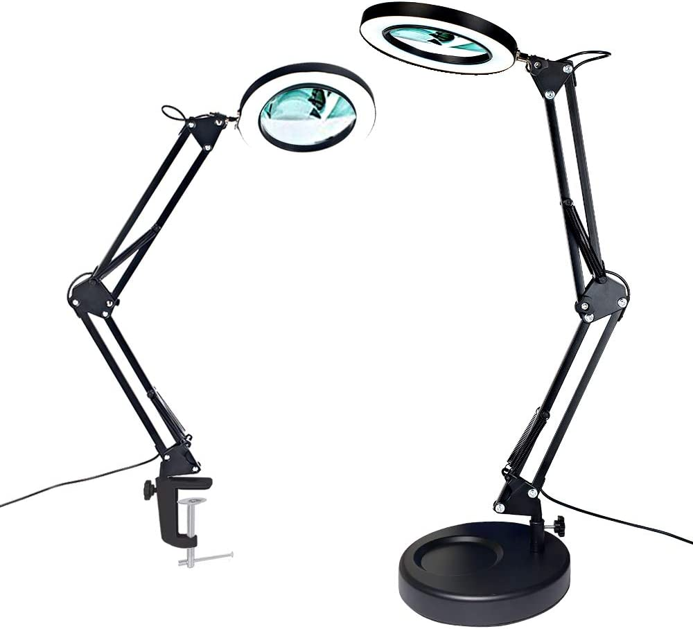 Magnifier Desk Lamp, Addie 2-in-1 Dimmable Daylight Bright LED Magnifying Lamp with Utility Clamp and Stand, 3 Color Modes Magnifier Lighted Glass Lens Swivel Arm Light for for Reading, Craft - Black