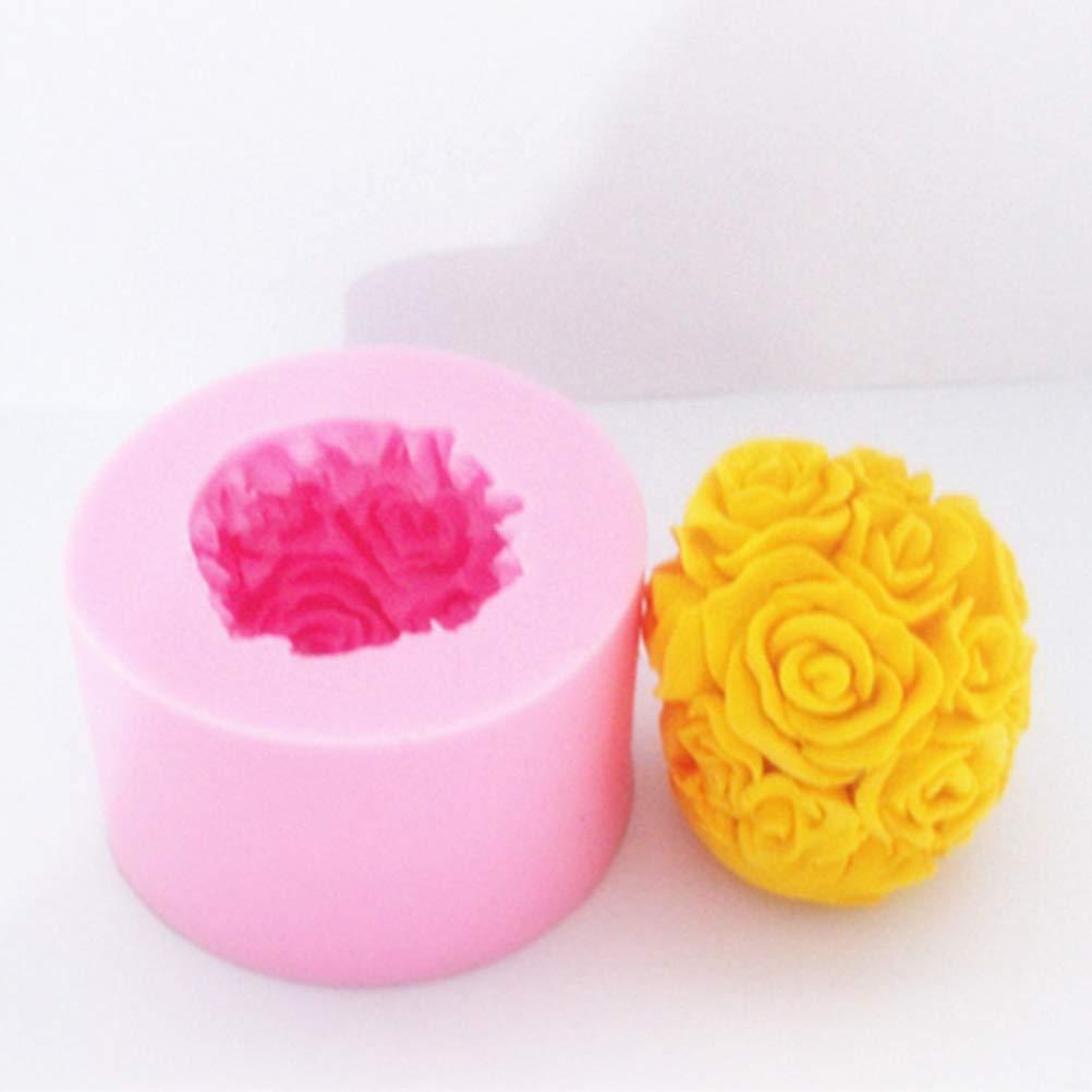 Artibetter Molde de la vela de la bola de rosa 3D - Molde de silicona de flor rosa de MoldFun para fondant, mini jabón hecho a mano, barra de loción, ...