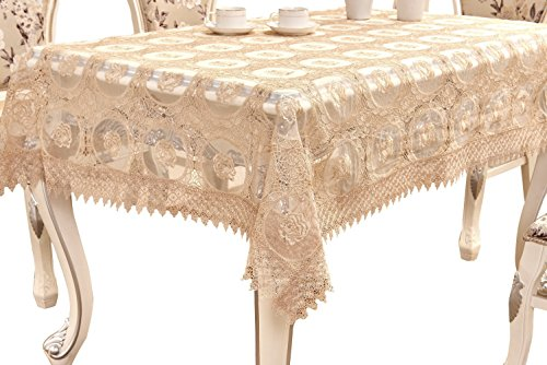 Golden Silk Cloth - Adasmile Handmade Lace Fabric Crocheted Patterns Tablecloth with Red Flowers for Rectangle Tables for Party,Wedding,Golden,36