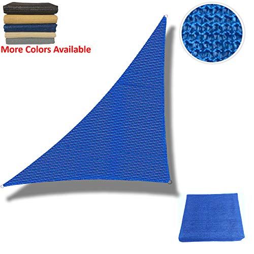 Eden's Decor Sun Shade Sail Right Triangle Outdoor with Durable Thick Air-Permeable UV Block Canopy for Garden, Patio, Swimming Pool, Backyard, Driveway, Fence, Deck (Blue, 15' x 15' x 21') (A Permeable Patio Install)