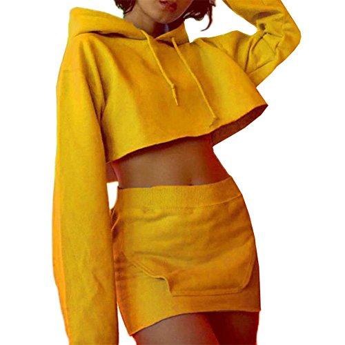 Womens 2 Pcs Plain Crop Top Hoodies+ Bodycon Pencil Skirt Set (S, (Skirt Set)