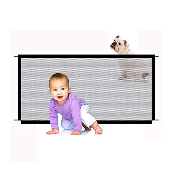 Honelife Dog Safety Gate Pet Safe Mesh Fence Portable Folding Baby Safety Gate Install Anywhere 110 * 72CM