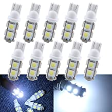 Grandview White 108 Lumens T10 W5W 194 168 5050 9-SMD LED 12V Interior Super Bright Car Light Bulbs Replacement Auto Car RV Truck LED Signal Map Dome Dashboard Parking Lights 10-Pack
