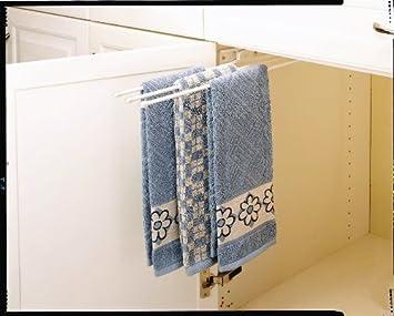 Rev-A-Shelf 563-47 563 Series 3 Prong Towel Bar with 12 Slides, White