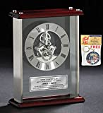 Employee Service Award Recognition Retirement Gift Personalized Engraved Desk Clock Silver Engraving Plate Large Silver DaVinci Desk Clock Encased Glass Chrome Wood Cherry Top and Base