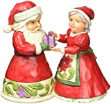 Jim Shore for Enesco Heartwood Creek Mini Santa and Mrs. Claus Figurine, 3.125""