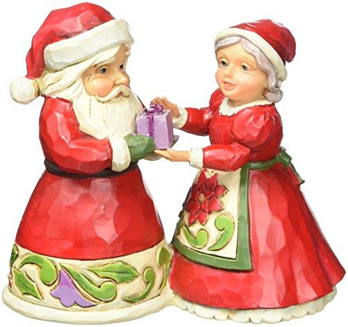 Jim Shore for Enesco Heartwood Creek Mini Santa and Mrs. Claus Figurine, 3.125