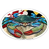 Maryland Blue Crab Oval Magnet, 6 x 4 inches - Euro Car Fridge Locker Vinyl Magnet