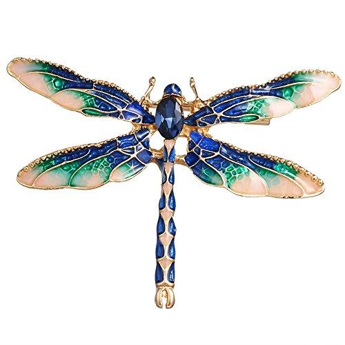 Enamel Dragonfly Pin - Dwcly Pretty Enamel Red or Blue Dragonfly Brooch Pin Charm Women Girls Lapel Pin Jewelry (blue)