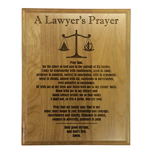 "Etching Memories A Lawyer's Prayer Engraved on 8"" by 10"" Red Alder with Balance Image, with Lady Justice."
