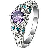 925 Sterling Silver Amethyst Sapphire Rings Womens Wedding Jewelry Sz6/7/8/9/10 (7)