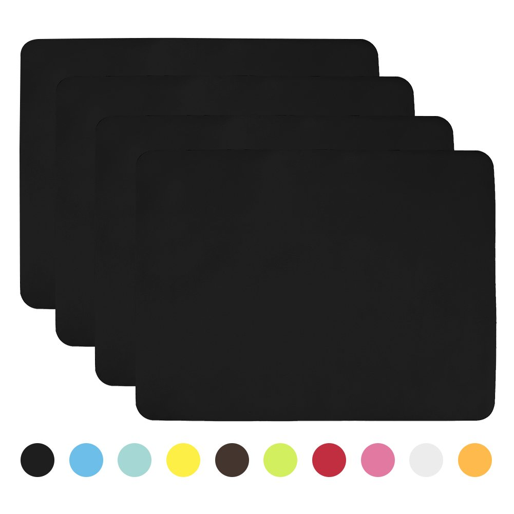 Aspire 4PCS Thicken Non-Slip Silicone Placemats Cutting Hot Mats Tablemats-Black