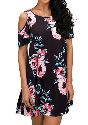 QIXING Women's Summer Cold Shoulder Floral Print Tunic Top Swing T-Shirt Loose Dress with Pockets Black-L