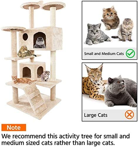 JINGOU Multi-Level Cat Tree Stand House Furniture Kittens Activity Tower with Scratching Posts Kitty Pet Play House