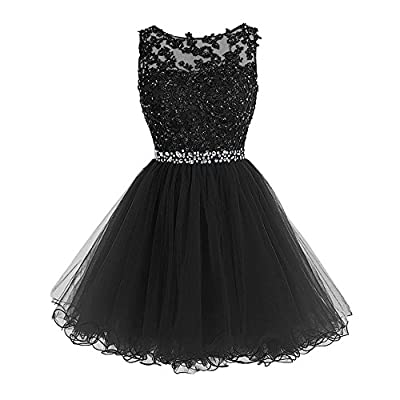WDING Short Tulle Homecoming Dresses Appliques Beads Prom Party Gowns