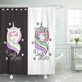 Emvency Waterproof Shower Curtain with Hooks Cute Unicorn Stars and Inscription in Pastel