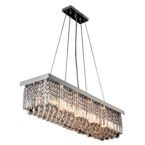 VALLKIN® Rectangular Crystal Chandelier Dining Room Ceiling Pendant Light Lighting with LED Ac100 to 240v L47.2