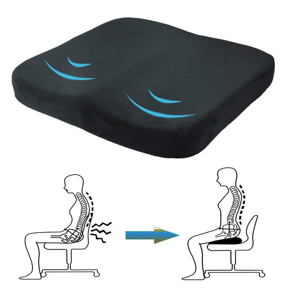 Extra-Large Memory Foam Seat Cushion – Office Chair & Travel – Non-Slip & Breathable Cover – Conforms to Your Body – Bigger Coverage Dissipates Pressure – Relieves Back Pain – 40 * 40 * 6Cm DYHQQ