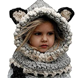 Yanekop Girl\'s Winter Animal Hats And Scarves Set Warm Hooded Scarf Best Gifts(Grey Fox)