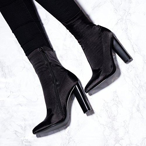 SPYLOVEBUY RHINO Mujer Tacón Bloque Botes Bajas Zapatos Negro - Satén Sintética Lycra