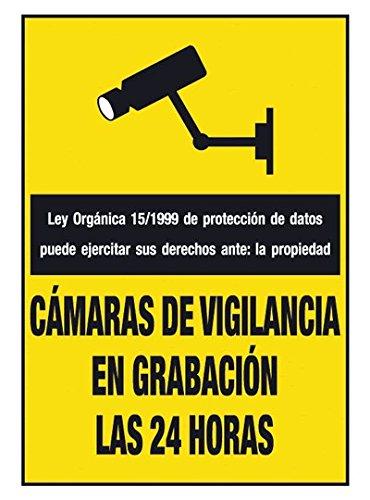 Cartel en PVC de Cámaras de Vigilancia en grabación las 24 horas: Amazon.es: Oficina y papelería