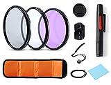 Lens Filter Universal Camera Lens Accessory Kits Ultra Slim High Definition 77mm UV CPL FLD Filter + Petal Lens Hood + Center Lens Cap Set + Cleaning Pen + Cleaning Wipe for Canon Nikon Sony SLR(77MM)